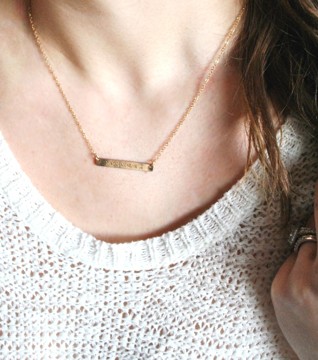 get 10% off my favourite accessory: a custom gold bar accessory. // rachelaz