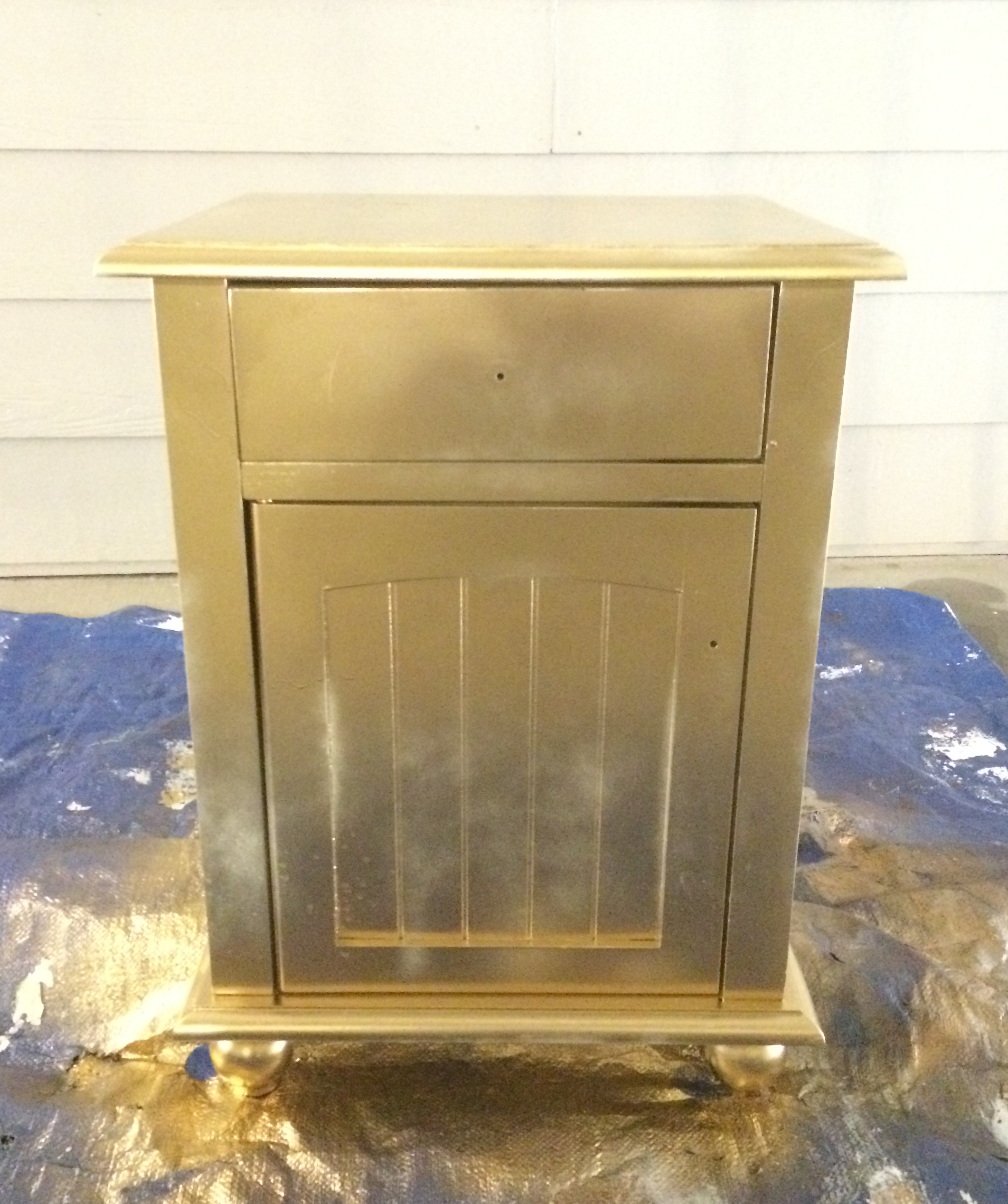 Diy White Gold Metallic Nightstand All Things Lovely