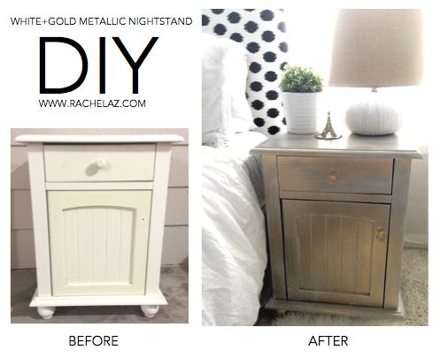 diy metallic furniture. Furniture. DIY: White + Gold Metallic Nightstand Diy Furniture U