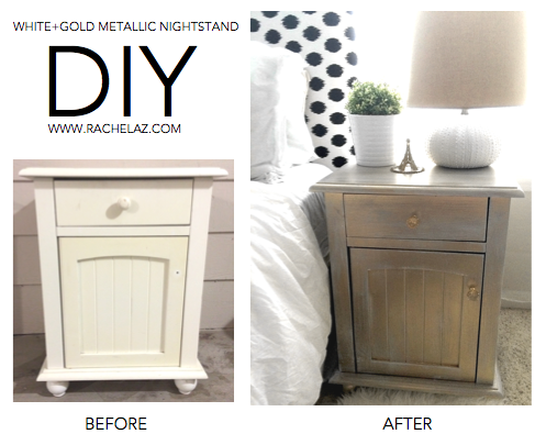 DIY: WHITE + GOLD METALLIC NIGHTSTAND |  I loved the rustic/metallic/restoration hardware type look, but didn't want to spend a fortune. I gave up on buying the nightstand I envisioned and finally just experimented until I had the finish I was looking for. I LOVE how this little project turned out! I hope you enjoy my do-it-yourself instructions. You can use this finish for any wooden surface (I think a coffee table would be adorbs!)  rachelaz.com